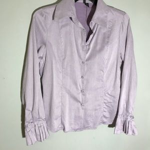 Peck and peck button front shirt with bell sleeve
